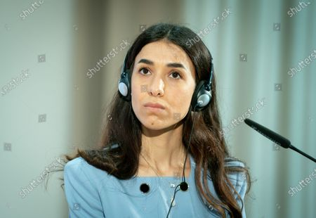 Iraqi human rights activist and Nobel Peace Prize laureate Nadia Murad speaks during a ceremony to symbolically open the College 'Women, Peace and Security' at the Foreign Service Academy in Berlin-Tegel in Berlin, Germany, 07 May 2021.