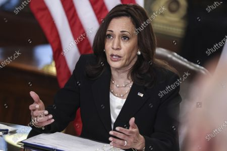 Vice President Kamala Harris speaks during a virtual bilateral meeting with Mexican President Andres Manuel Lopez Obrador in the Vice President's Ceremonial Office in the Eisenhower Executive Office Building on the White House campus on May 7, 2021, in Washington, DC.   Photo by Oliver Contreras/UPI