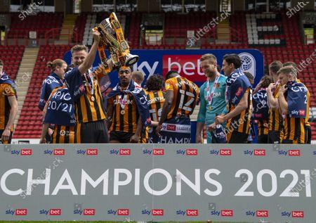 James Scott of Hull City celebrates winning League One
