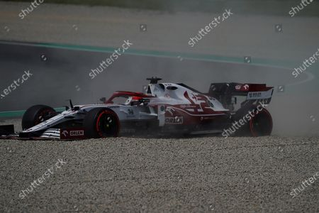 Stock Picture of Exit of Test driver Robert Kubica (POL#88), Alfa Romeo Racing ORLEN to the gravel bed in the new curve 10.