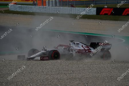 Stock Photo of Exit of Test driver Robert Kubica (POL#88), Alfa Romeo Racing ORLEN to the gravel bed in the new curve 10.
