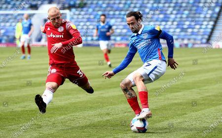 Ryan Williams of Portsmouth and David Morgan of Accrington Stanleym