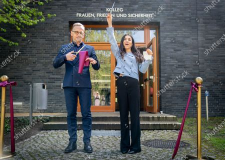"""Stock Picture of Foreign Minister Heiko Maas and the Iraqi human rights activist and Nobel Peace Prize winner Nadia Murad are symbolically opening the seminar """"Women, Peace and Security"""" at the Academy of Foreign Affairs in Berlin-Tegel."""