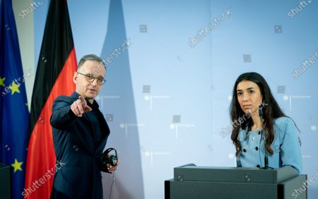 """Stock Photo of In a symbolic setting at the Academy of Foreign Affairs in Berlin-Tegel, Heiko Maas (SPD) and the Nobel Peace Prize winner Nadia Murad will open the College """"Women, Peace and Security""""."""