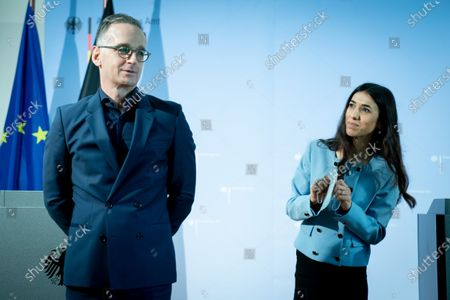 """In a symbolic setting at the Academy of Foreign Affairs in Berlin-Tegel, Heiko Maas (SPD) and the Nobel Peace Prize winner Nadia Murad are opening the seminar """"Women, Peace and Security""""."""