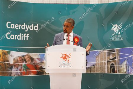 Cardiff South and Penarth Labour winner Vaughan Gething gives his acceptance speech during the ballot count