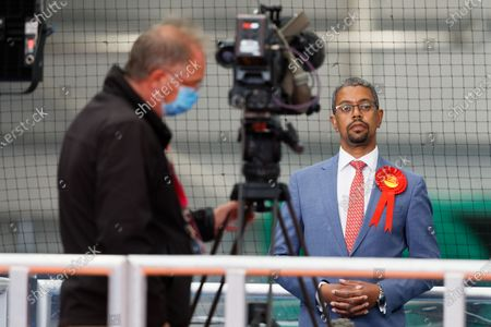 Vaughan Gething, Minister for Health and Social Services during a television interview at the ballot count