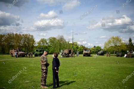 French Defence Minister Florence Parly (R) talks with French Army chief of staff General Thierry Burkhard during a visit to the military camp of Satory in Versailles-Satory, west of Paris, France, 07 May 2021.