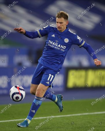 Leicester's Marc Albrighton controls the ball during the English Premier League soccer match between Leicester City and Newcastle United at the King Power Stadium in Leicester, England