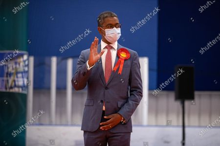 Picture shows Vaughan Gething celebrating after winning Cardiff South and Penarth during the count for the Senedd elections in the House of Sport, Cardiff.