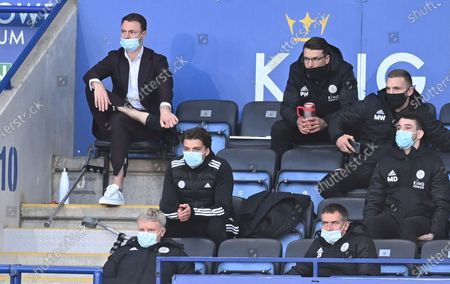 Jonny Evans of Leicester sits on the bench during the English Premier League soccer match between Leicester City and Newcastle United in Leicester, Britain, 07 May 2021.
