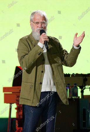 """Stock Image of David Letterman speaks at """"Vax Live: The Concert to Reunite the World"""", at SoFi Stadium in Inglewood, Calif"""