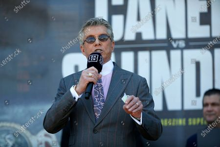 Announcer Michael Buffer speaks to the crowd during weigh-ins for the Alvarez and Saunders fights, in Arlington, Texas. Alvarez and Saunders fight on Saturday, May 8, 2021, for the unified super middleweight world championship