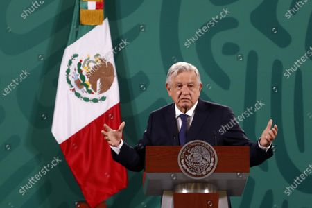 Mexican President Andres Manuel Lopez Obrador meet with the media during his daily morning news conference at National Palace.
