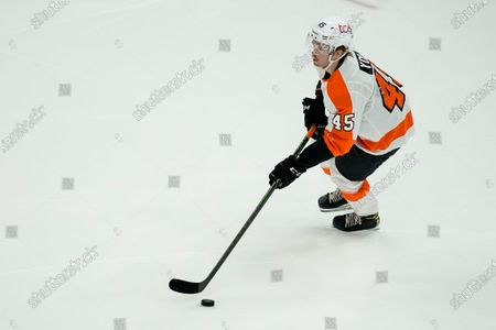 Philadelphia Flyers defenseman Cam York (45) in action during the second period of an NHL hockey game against the Washington Capitals, in Washington