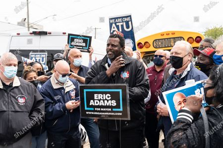 Editorial picture of Mayoral candidate Eric Adams endorsed by ATU unions, New York, United States - 07 May 2021