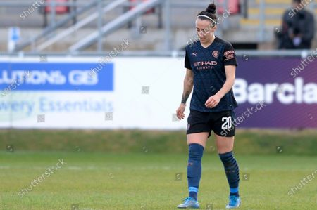 Lucy Bronze of Manchester City Women reacts after the WomenÕs Super League match between West Ham Women and Manchester City Women at The Chigwell Construction Stadium in London - 9th May 2021
