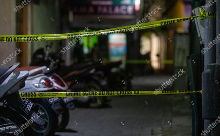 A cordoned-off area in the aftermath of a blast in Male, Maldives, 08 May 2021. Maldives former president and current parliament speaker Mohamed Nasheed was injured in a blast outside his family home on 06 May and was admitted to hospital in critical condition.