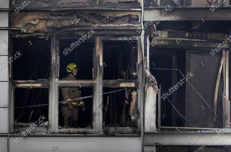Fire at a block of flats, Poplar, London