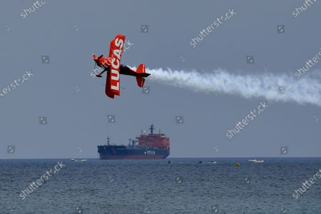 Michael Wiskus pilots the Lucas Oil Super Stinker S-1-11B is seen during practice day for the Fort Lauderdale Air Show at Fort Lauderdale Beach, Fort Lauderdale, Florida, USA - 07 May 2021