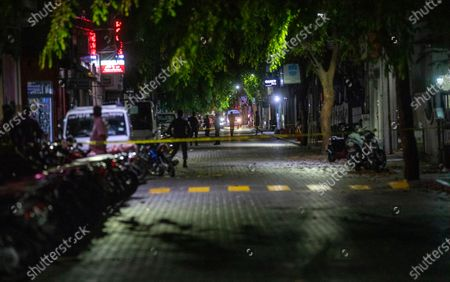 The cordoned-off area of a blast in Male, Maldives, 08 May 2021. Maldives former president and current parliament speaker Mohamed Nasheed was injured in a blast outside his family home on 06 May and was admitted to hospital in critical condition.