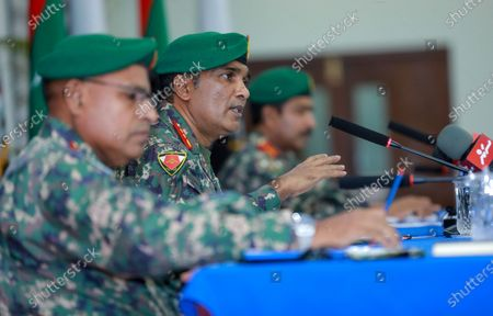 Chief of Defence Force (CDF) of Maldives National Defence Force, Major General Abdulla Shamaal, speaks during a press conference about the ongoing investigation over a blast in Male, Maldives, late 07 May 2021 (issued 08 May 2021). Maldives former president and current parliament speaker Mohamed Nasheed was injured in a blast outside his family home on 06 May and was admitted to hospital in critical condition.