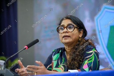 Maldives Minister of Defence Mariya Ahmed Didi speaks during a press conference about the ongoing investigation over a blast in Male, Maldives, late 07 May 2021 (issued 08 May 2021). Maldives former president and current parliament speaker Mohamed Nasheed was injured in a blast outside his family home on 06 May and was admitted to hospital in critical condition.