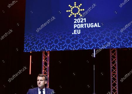 French President Emmanuel Macron attends a meeting in the framework of the European Social Summit in Porto, Portugal, May 8, 2021. REUTERS/Violeta Santos Moura/Pool