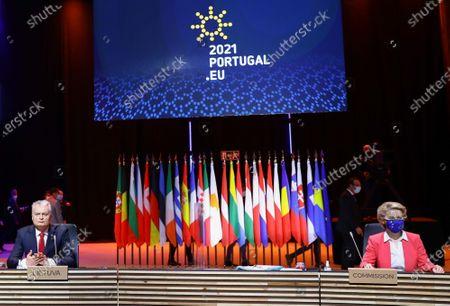 Lithuania's President Gitanas Nauseda and European Commission President Ursula von der Leyen attend a meeting in the framework of the European Social Summit in Porto, Portugal, May 8, 2021. REUTERS/Violeta Santos Moura/Pool