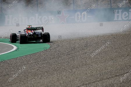 Sergio Perez, Red Bull Racing RB16B spins during qualifying during the 2021 Formula One Spanish Grand Prix