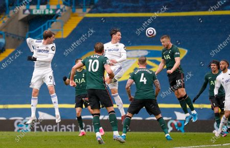 Leeds United defender Robin Koch (5) is beaten to the header by Tottenham Hotspur midfielder Eric Dier (15)  during the Premier League match between Leeds United and Tottenham Hotspur at Elland Road, Leeds