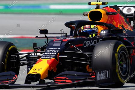 Red Bull driver Sergio Perez of Mexico steers his car during the third free practice for the Spanish Formula One Grand Prix at the Barcelona Catalunya racetrack in Montmelo, just outside Barcelona, Spain, . The Spanish Grand Prix will be held on Sunday
