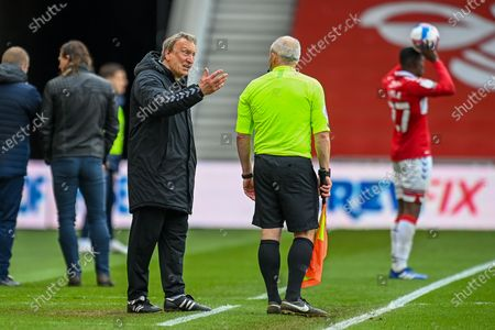 Middlesbrough Manager, Neil Warnock appeals to assistant referee Richard West during the EFL Sky Bet Championship match between Middlesbrough and Wycombe Wanderers at the Riverside Stadium, Middlesbrough