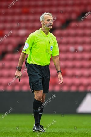 Stock Picture of Referee Martin Atkinson during the EFL Sky Bet Championship match between Middlesbrough and Wycombe Wanderers at the Riverside Stadium, Middlesbrough