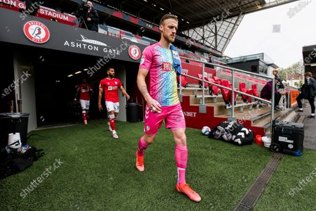 Daniel Bentley of Bristol City leads out his team as captain