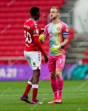 Stock Photo of Daniel Bentley of Bristol City gives instructions to Tyreeq Bakinson of Bristol City