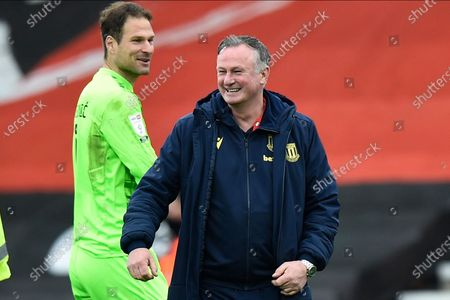 Stoke City manager Michael O'Neill at full time during the EFL Sky Bet Championship match between Bournemouth and Stoke City at the Vitality Stadium, Bournemouth