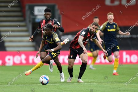 Steve Cook (3) of AFC Bournemouth fouls Rabbi Matondo (49) of Stoke City during the EFL Sky Bet Championship match between Bournemouth and Stoke City at the Vitality Stadium, Bournemouth