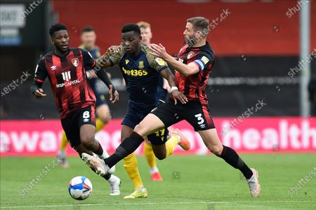 Stock Picture of Steve Cook (3) of AFC Bournemouth fouls Rabbi Matondo (49) of Stoke City during the EFL Sky Bet Championship match between Bournemouth and Stoke City at the Vitality Stadium, Bournemouth