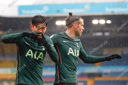 Tottenham's Heung-Min Son (L) celebrates with Tottenham's Gareth Bale (R) after scoring the 1-1 equalizer during the English Premier League soccer match between Leeds United and Tottenham Hotspur in Leeds, Britain, 08 May 2021.