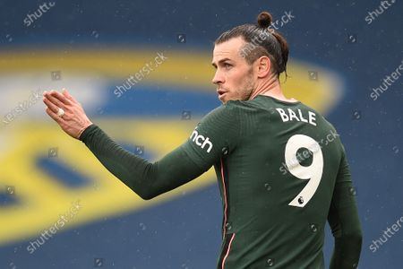Tottenham's Gareth Bale reacts during the English Premier League soccer match between Leeds United and Tottenham Hotspur in Leeds, Britain, 08 May 2021.