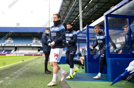 Stock Picture of Commercial and Marketing Stefan Johansen of QPR, Macauley Bonne of QPR and Sam Field of QPR during warm up