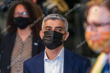 The Labour Party's mayoral candidate Sadiq Khan reacts as he hears he has won the London Mayoral election at City Hall in London, Britain, 08 May 2021. Britons voted on 06 May 2021 in local and mayoral elections.