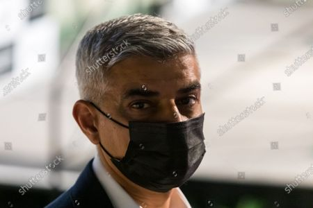The Labour Party's mayoral candidate Sadiq Khan waits to hear he has won the London Mayoral election at City Hall in London, Britain, 08 May 2021. Britons voted on 06 May 2021 in local and mayoral elections.