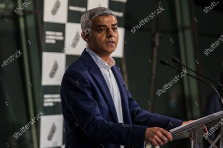 The Labour Party's mayoral candidate Sadiq Khan makes an acceptance speech after being declared the winner of the London Mayoral election at City Hall in London, Britain, 08 May 2021. Britons voted on 06 May 2021 in local and mayoral elections.
