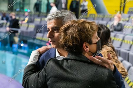 The Mayor of London, Sadiq Khan embraces his wife, Saadiya after winning the London Mayoral election at City Hall in London, Britain, 08 May 2021. Britons voted on 06 May 2021 in local and mayoral elections.