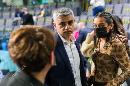 The Mayor of London, Sadiq Khan (C) with wife, Saadiya (L) and daughter (R) after winning the London Mayoral election at City Hall in London, Britain, 08 May 2021. Britons voted on 06 May 2021 in local and mayoral elections.