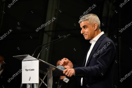 Stock Photo of Re-elected Mayor of London Sadiq Khan holds a speech after the result declaration at City Hall, in London, . Millions of people across Britain have voted on Thursday, in local elections, the biggest set of votes since the 2019 general election