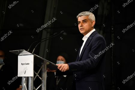 Re-elected Mayor of London Sadiq Khan holds a speech after the result declaration at City Hall, in London, . Millions of people across Britain have voted on Thursday, in local elections, the biggest set of votes since the 2019 general election