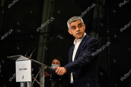 Stock Picture of Re-elected Mayor of London Sadiq Khan holds a speech after the result declaration at City Hall, in London, . Millions of people across Britain have voted on Thursday, in local elections, the biggest set of votes since the 2019 general election